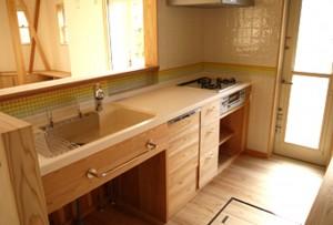 タイル 木 キッチン