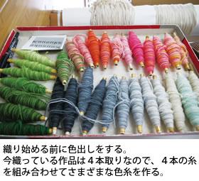 4本の糸を組み合わせてさまざまな色糸を作る