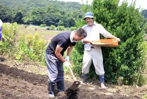 大豆 種まき 鍬