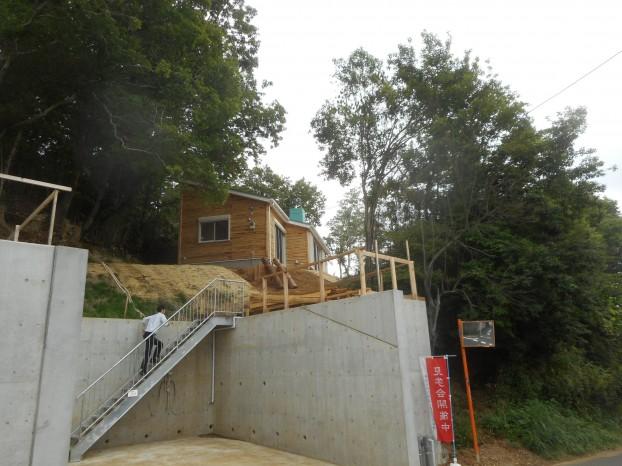 都市の森に建つ丸太の平屋