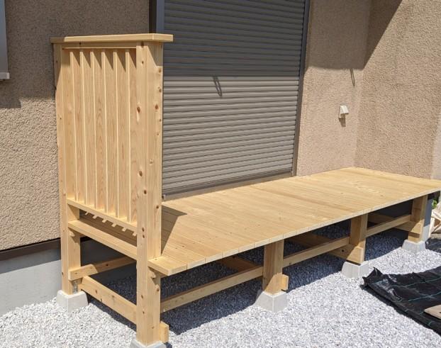 檜のウッドデッキ無垢材